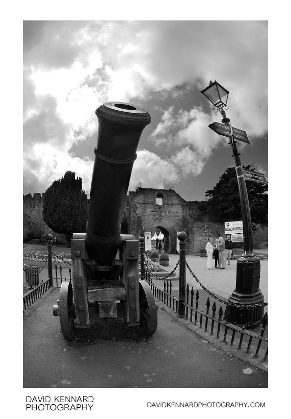 Cannon guards Ludlow Castle