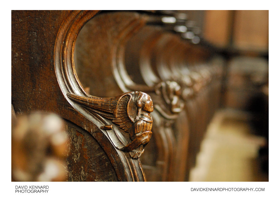 Angels carved into Choir Stands