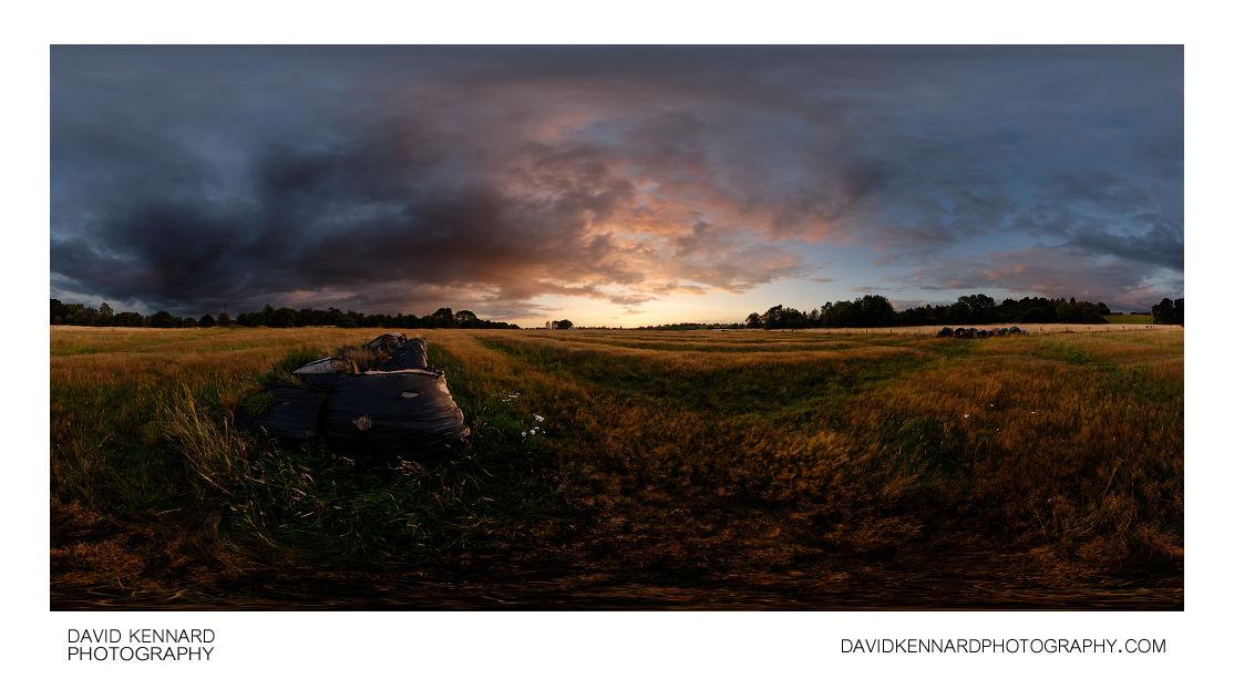 Sunset over ridge and furrow field