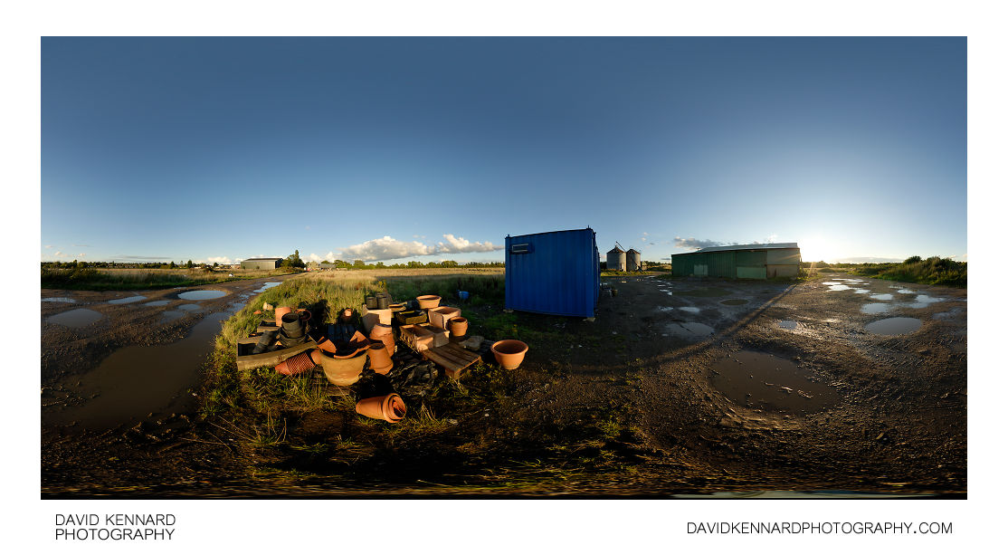 Pots near farm buildings, Farndon Fields Farm
