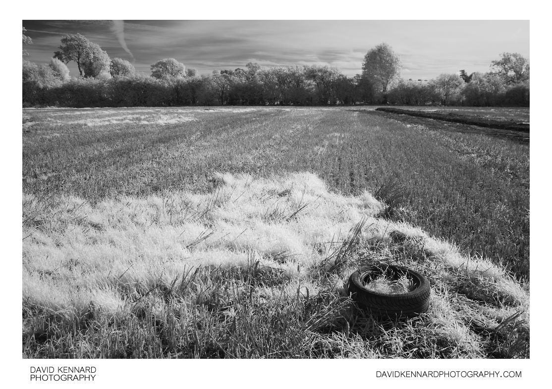 Old tyre in field in infrared