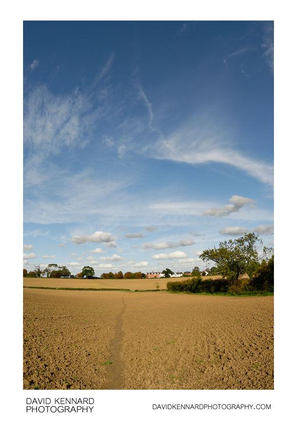 Path across ploughed field near Great Bowden