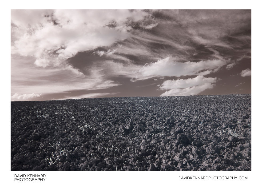 Ploughed field and cloudy sky in IR