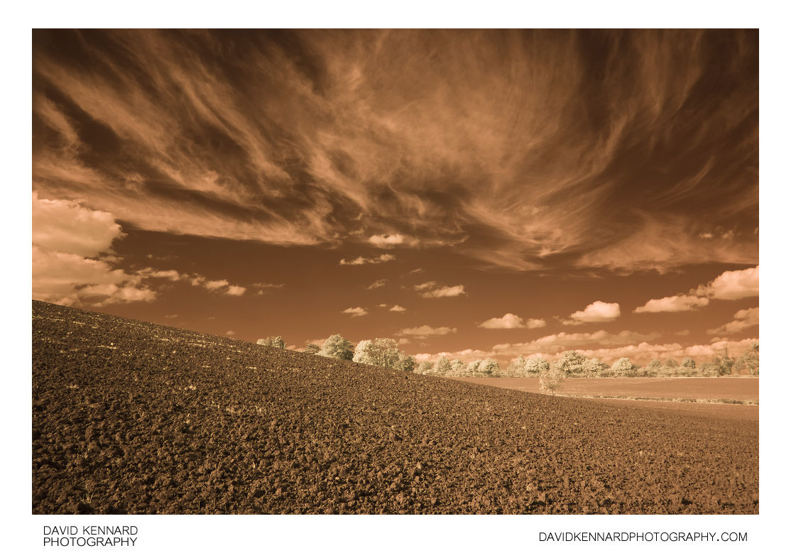 Cirrus clouds and ploughed field in IR