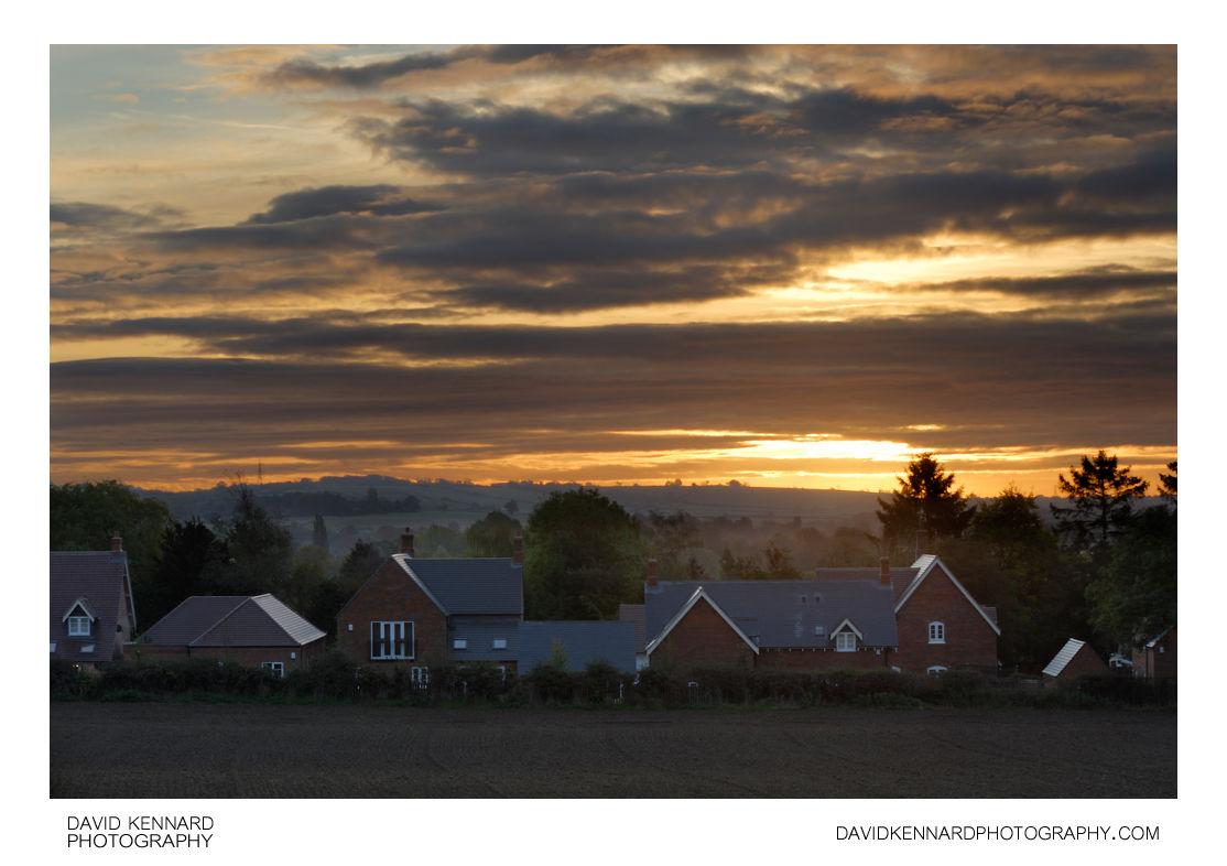 Sunrise over Harborough from Lubenham Hill