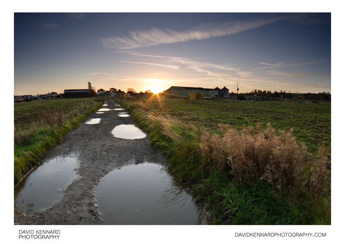 Track across Farndon Fields at Sunrise