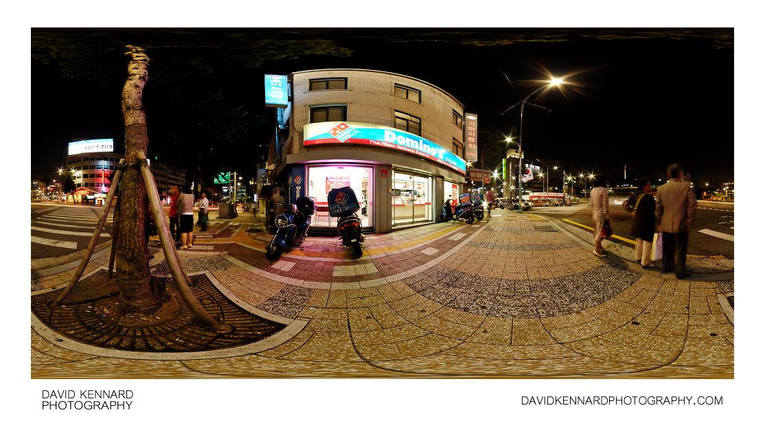360° pano outside Domino's Myeong-dong at night