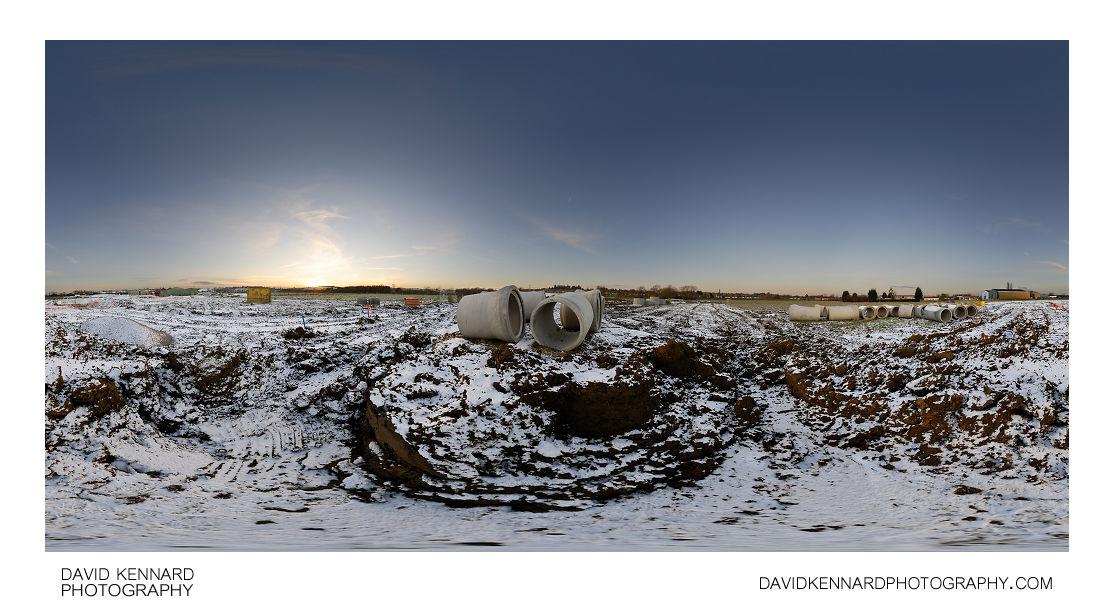 Farndon Fields development in the snow