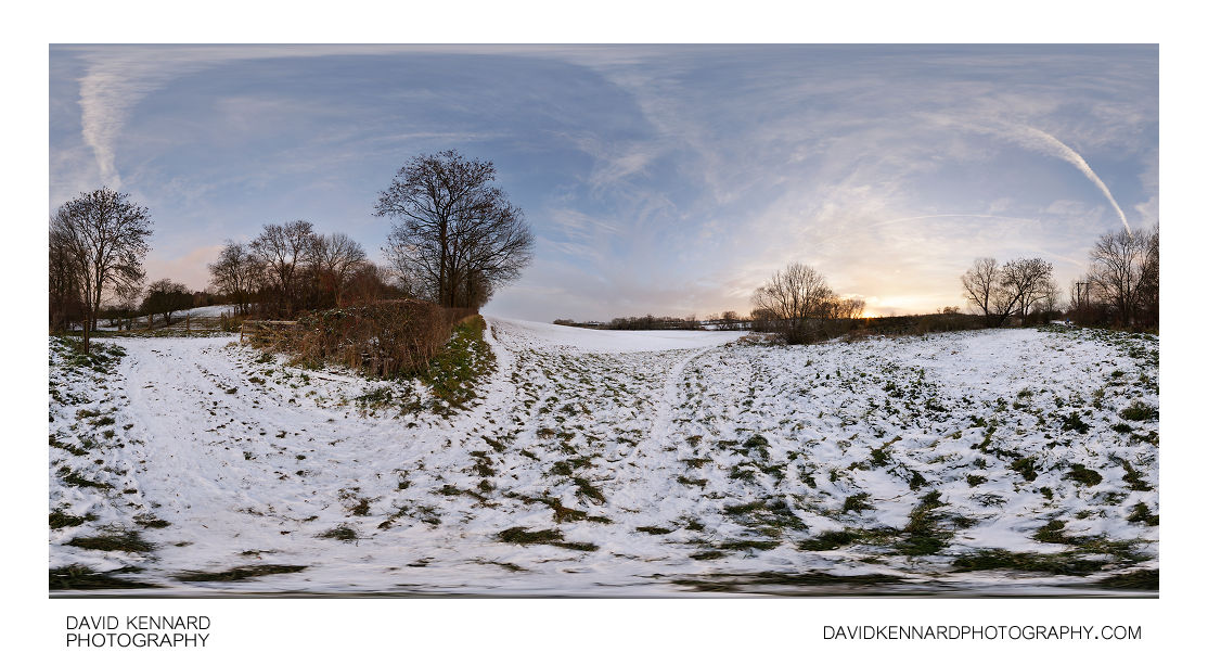 Snowy fields at sunset, Harborough