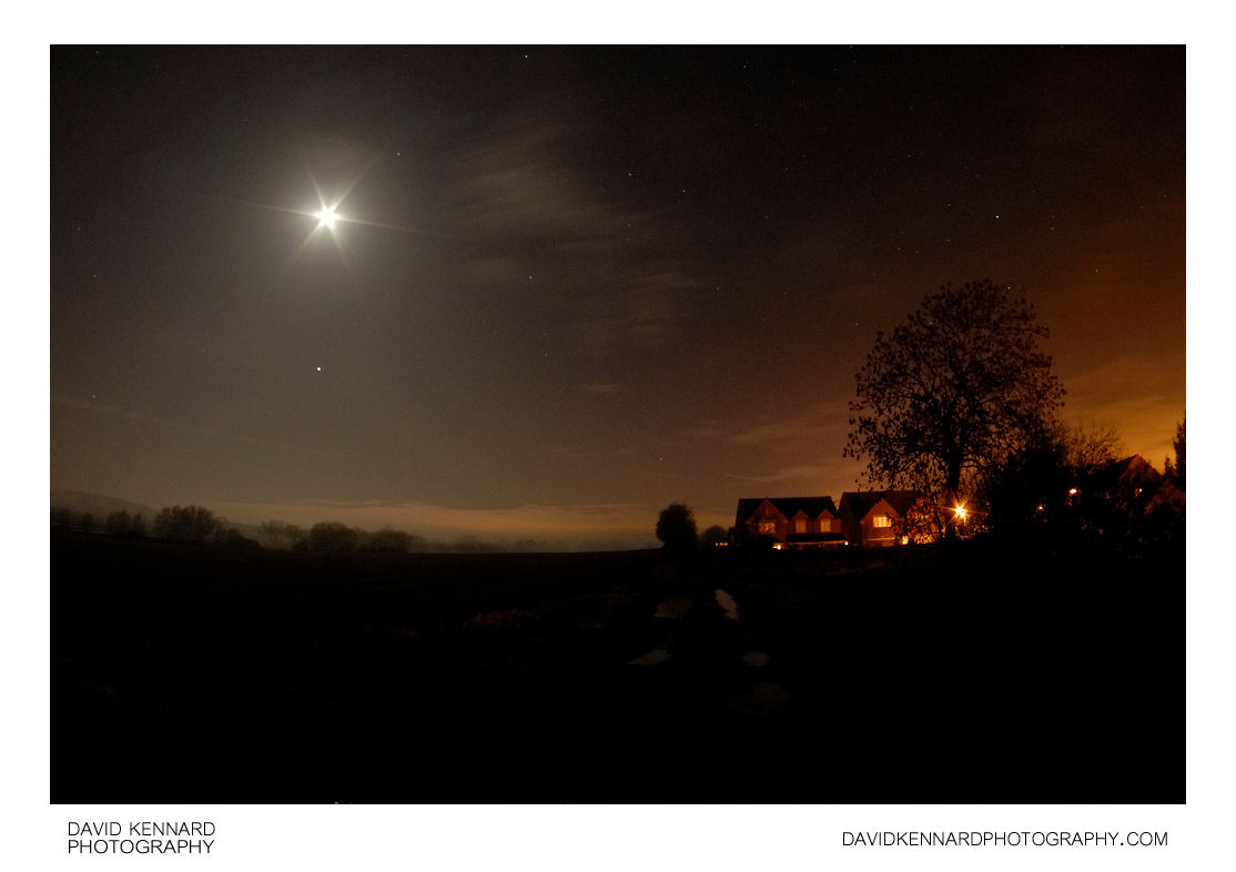 Old railway line and Farndale View at night
