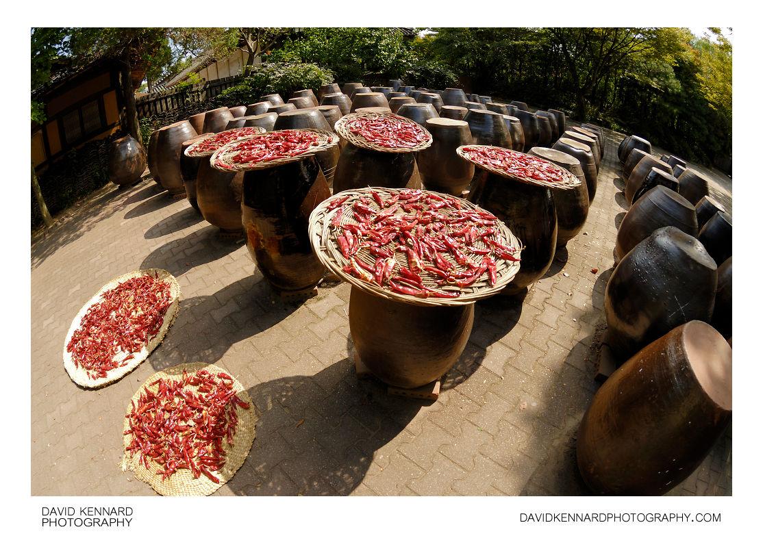 Drying peppers on earthenware jars