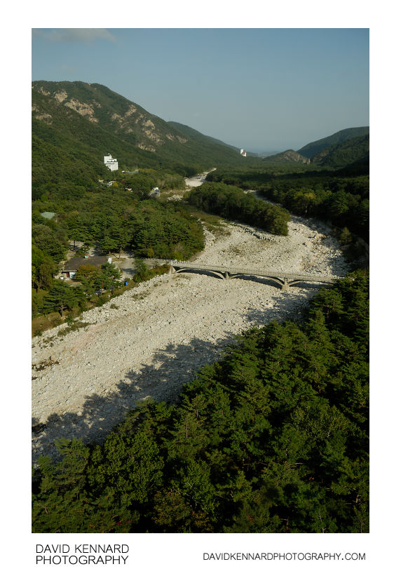 Dry riverbed and green forests of Soraksan