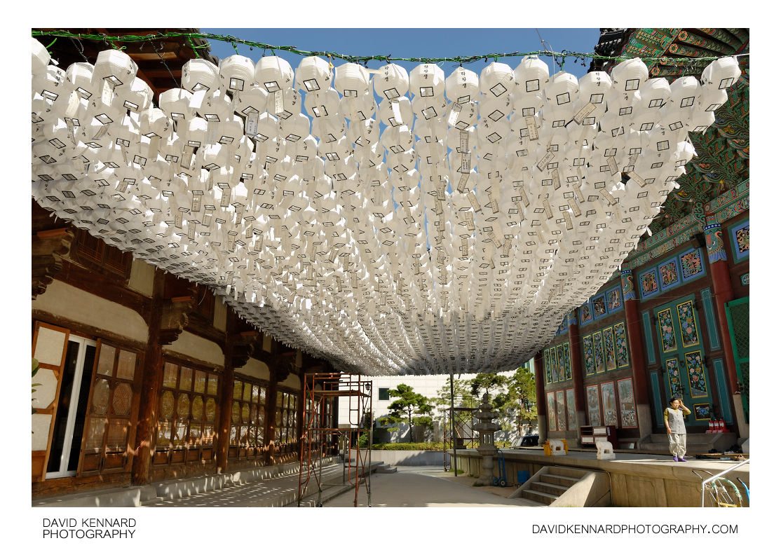White paper lanterns with lights - White Paper Lanterns Jogyesa Temple