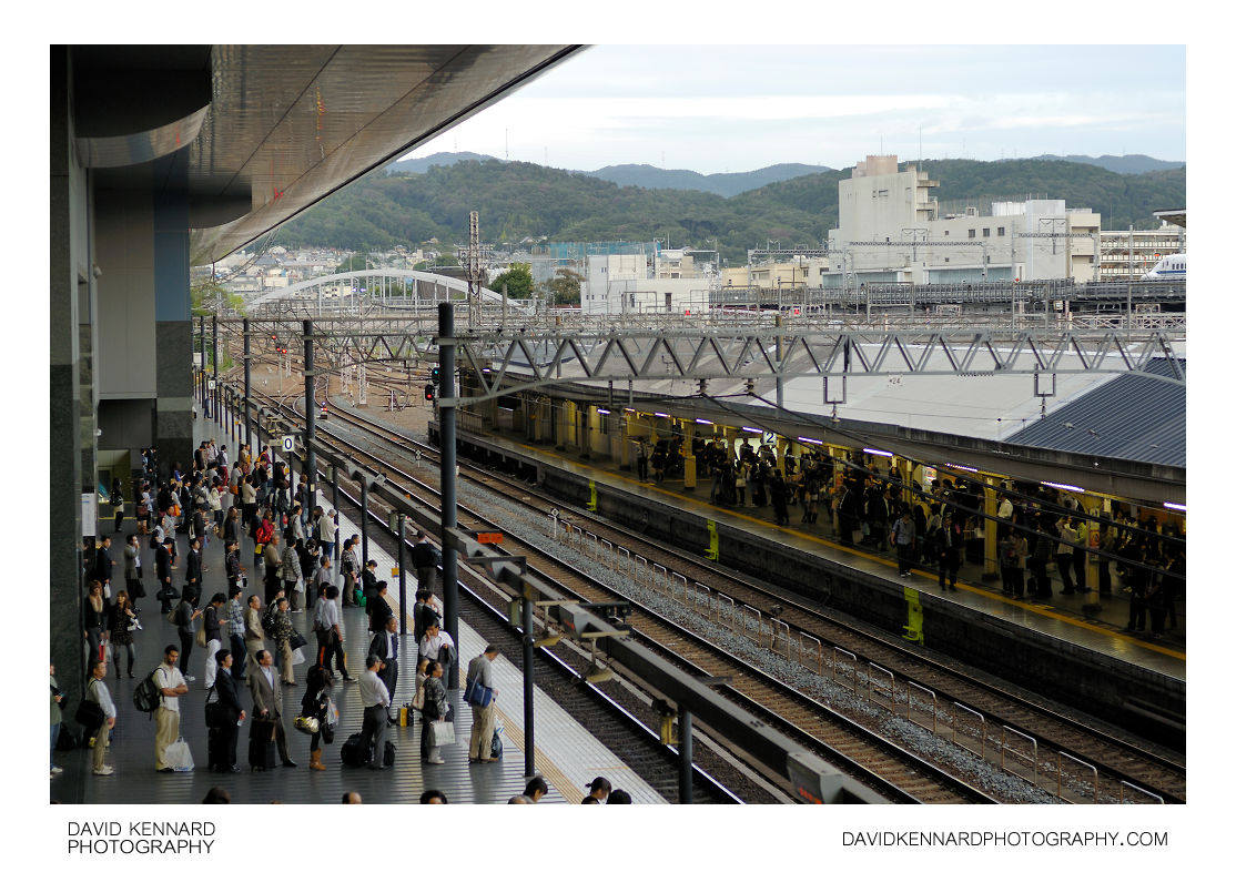 Lining up for a train at Kyoto Station