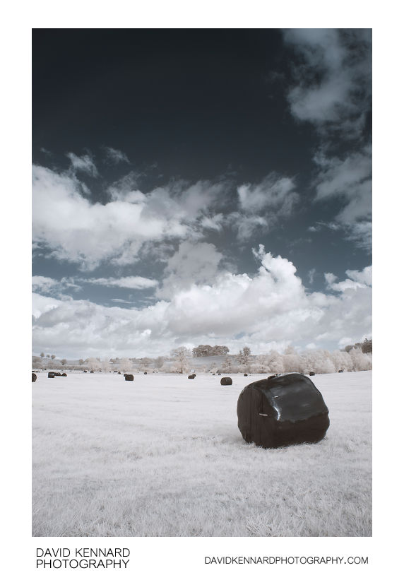 Black plastic wrapped haybales in infrared