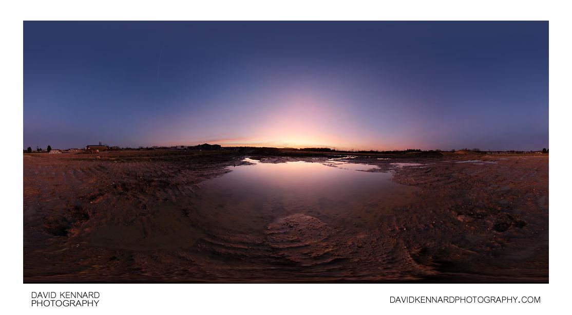 Sunset puddle at Farndon Fields
