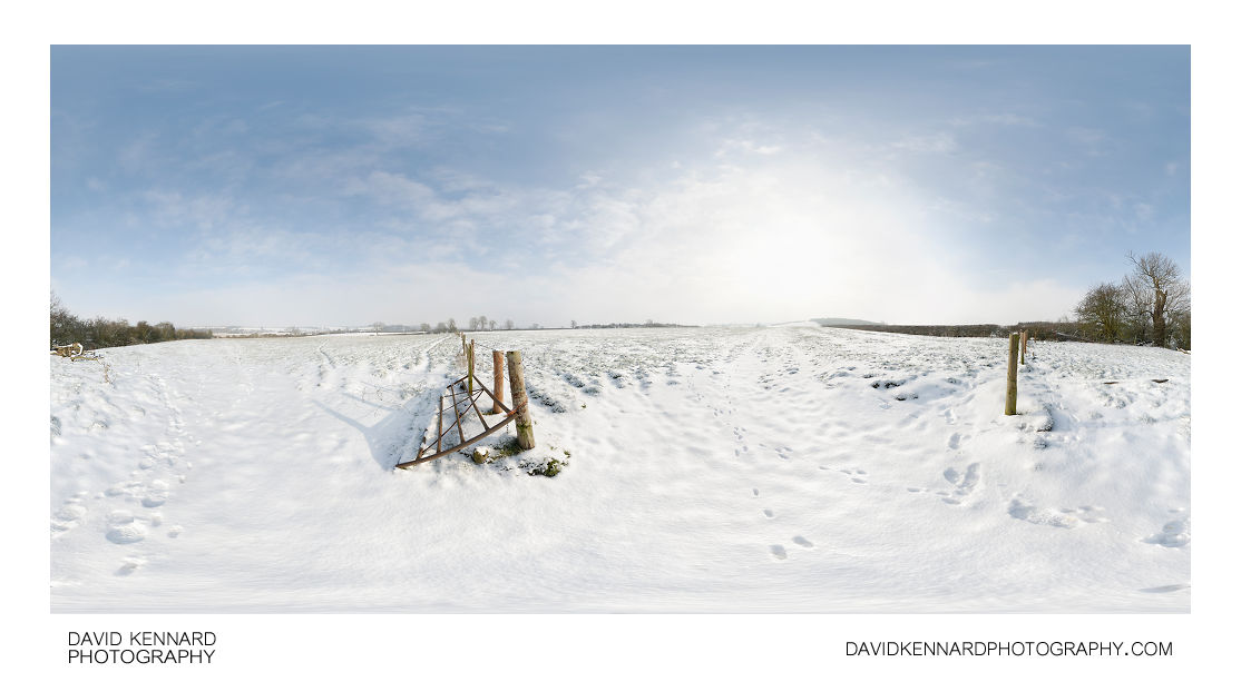 Gate between snow covered fields, East Farndon