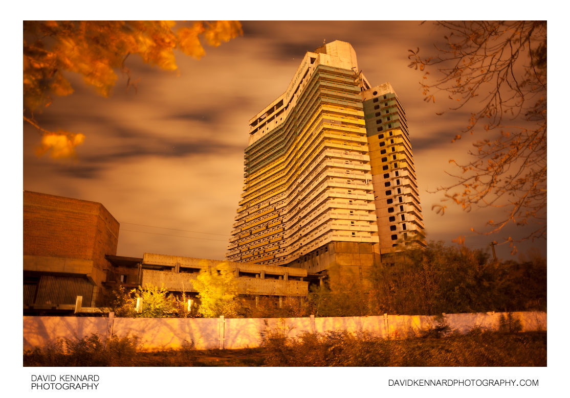 Hotel Parus at night, Dnipropetrovsk