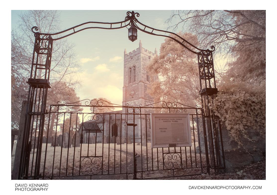 Gateway to St. Nicholas Church, Marston Trussell in IR