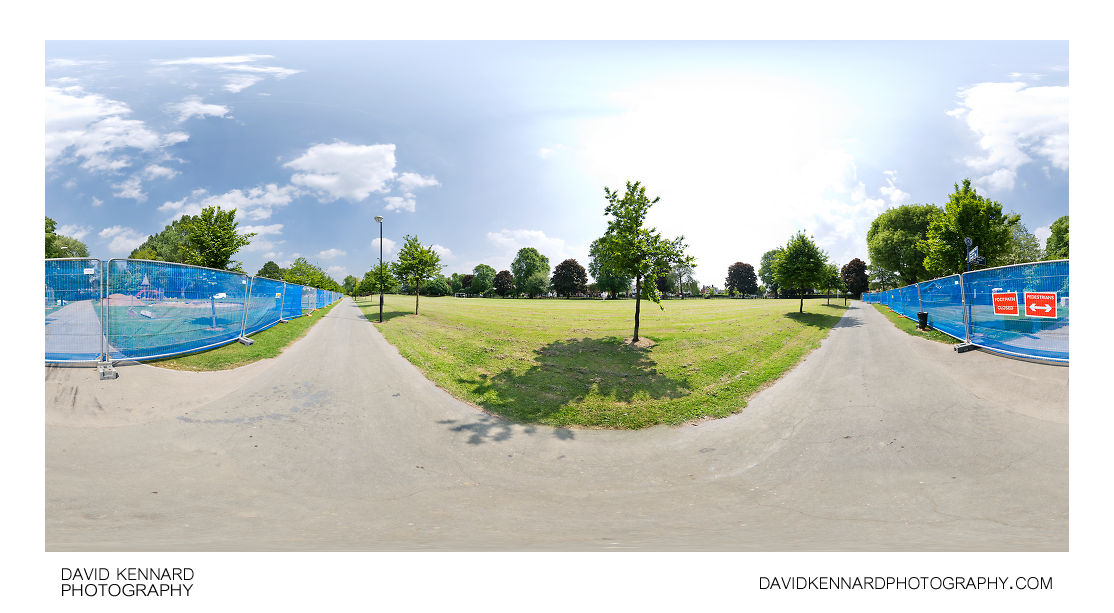 Welland Park play park under construction 360 panorama