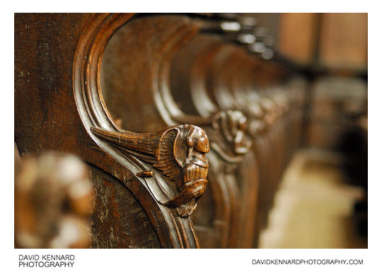 Angels carved into Choir Stands in the Parish Church of St Laurence, Ludlow