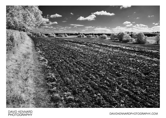 Infrared photo of a ploughed field near Market Harborough