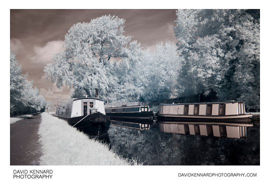 Infrared photo of Narrowboats on the Grand Union Canal near Market Harborough