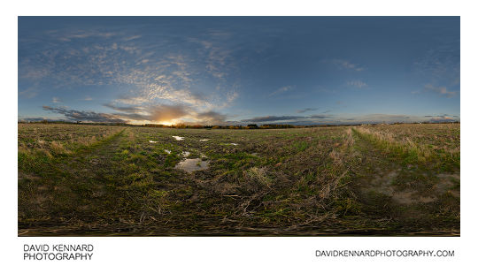 360° panorama of sunset over Farndon Fields in Market Harborough