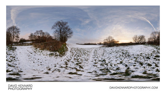 Sunset over a snowy field between Lubenham and Market Harborough in December 2010