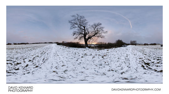 A snowy field at twilight between the Leicestershire town of Market Harborough and village of Lubenham