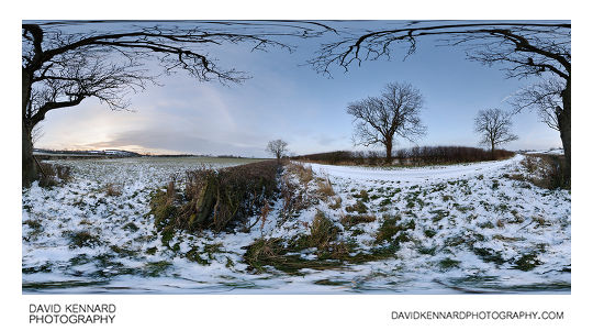 Snowy field just off Lubenham Road, near East Farndon, in Northamptonshire, England