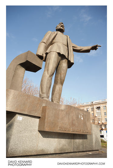 Monument of Grigory Petrovsky in Petrovsky square, Dnipropetrovsk, Ukraine. Petrovsky was a prominent Russian revolutionary, and acted as the Chairman of the Central Executive Committee of the Soviet Union from December 1922 to January 1938.