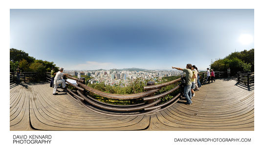 360° panorama from the viewing platform partway up north side of Namsan (남산)