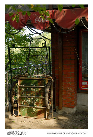 Old cart by vacant cafe in Namsan Park, Seoul, South Korea