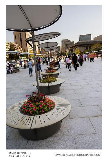 Flowerbed seats on Gwanghwamun Plaza
