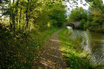 Grand Union Canal Harborough arm in autumn, near Market Harborough in Leicestershire, England.