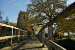 Packhorse bridge and Church of St. Giles, Medbourne