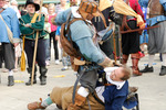 A Royalist soldier and a supporter of Parliament fight