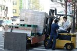 Forklift unloading paper delivery, Seoul