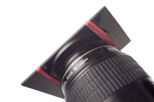 Mounting welding glass on lens using step-up ring and elastic bands