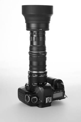 Camera with extension tubes and +4 diopter lens mounted