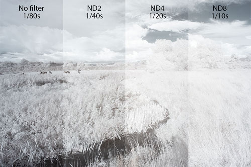 Photo comparing exposure from left to right of: No filter; XCSource ND2 filter; ND4; and ND8 filter. The stronger the filter, the brighter the image when adjusted to compensate for the filter's given density, showing that the filters don't block IR light very well.