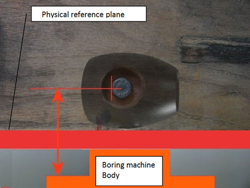 Fig 8 The mini ball body in position wth the plank leaning against the reference surface