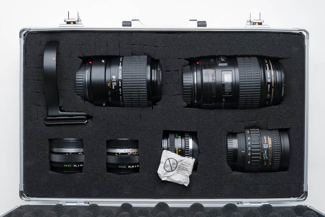Lenses in foam lined flight case