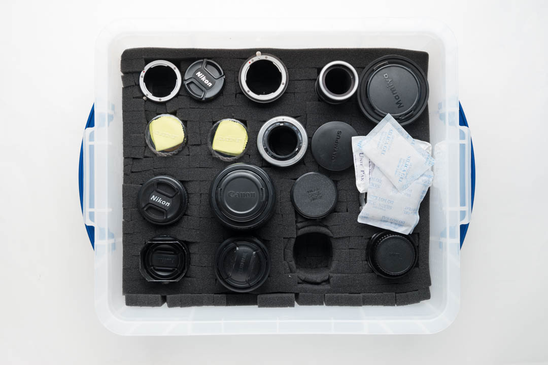 Lenses stored in a Really Useful Boxes 18l box lined with pick 'n' pluck foam