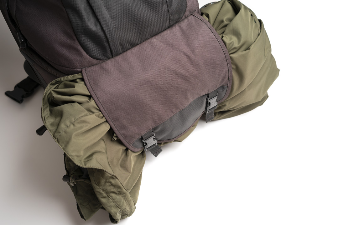 Using the front flap to hold a jacket