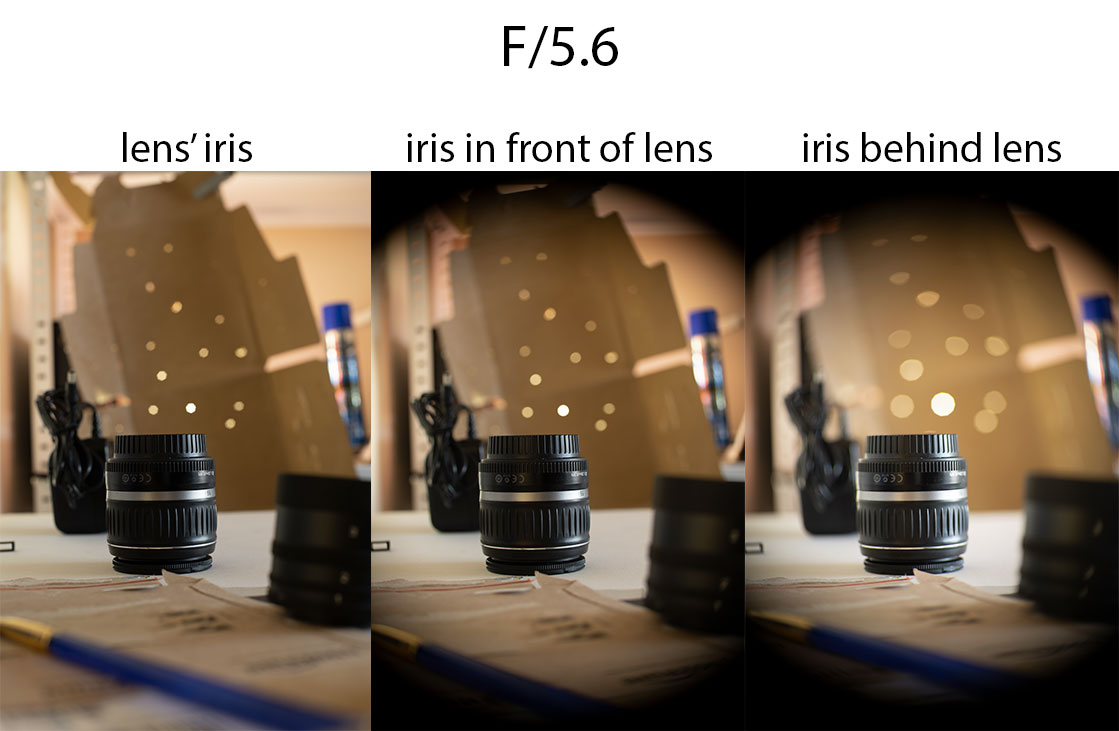 Comparison of photos taken with 50mm/1.4 lens with lens' internal iris at f/5.6 vs iris in front of lens at f/5.6 vs iris behind lens at f/5.6