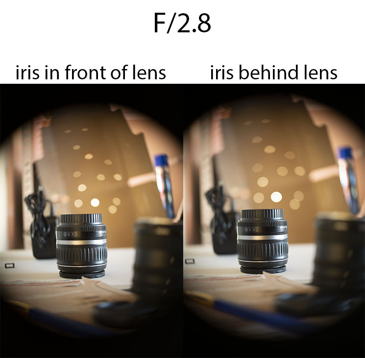 Comparison of photos taken with 50mm/2 projector lens with iris in front of lens at f/2.8 vs iris behind lens at f/2.8