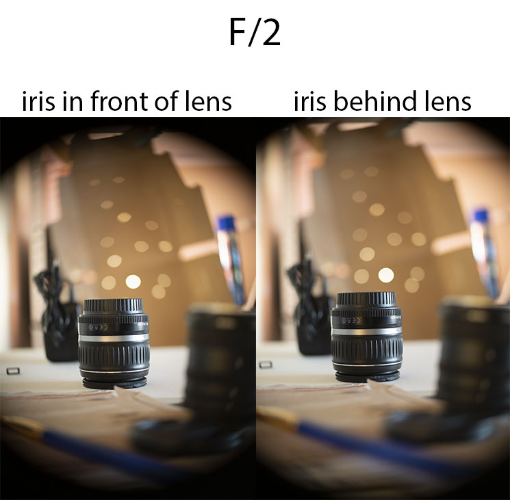 Comparison of photos taken with 50mm/2 projector lens with iris in front of lens at f/2 vs iris behind lens at f/2