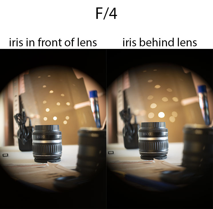 Comparison of photos taken with 50mm/2 projector lens with iris in front of lens at f/4 vs iris behind lens at f/4